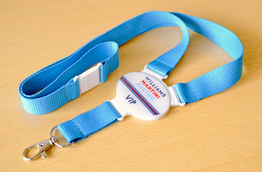 Printed and domed lanyards - Oval lanyard with a light blue strap | www.namebadgesinternational.co.uk